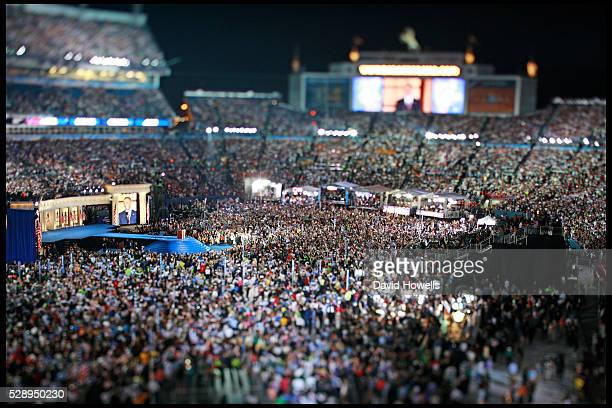 Democratic Presidential candidate Barack Obama gives his acceptance speech at Invesco Field on the final night of the Democratic National Convention...