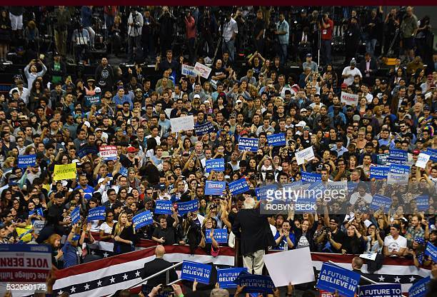 Democratic presidential candidate Bernie Sanders addresses a primary night election rally in Carson California May 17 2016 Sanders scored a decisive...