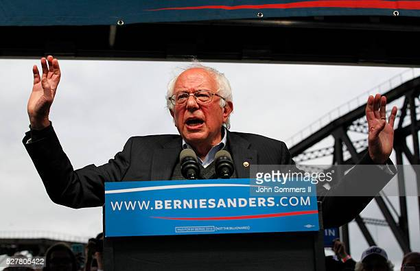 Democratic presidential candidate Bernie Sanders addresses the crowd during a campaign rally at the Big Four Lawn park May 3 2016 in Louisville...