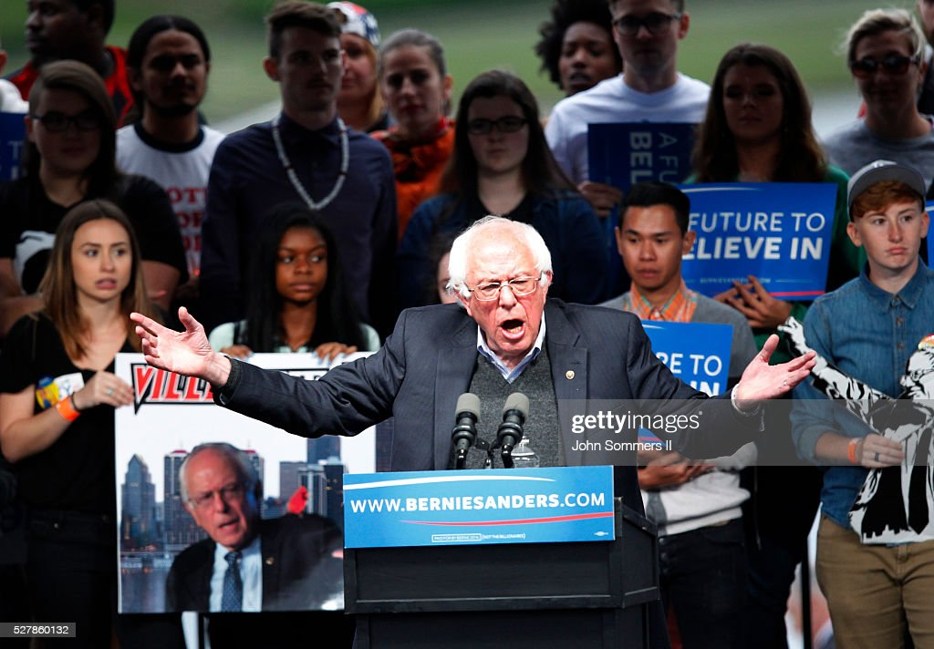Democratic presidential candidate Bernie Sanders addresses the crowd during a campaign rally at the Big Four Lawn park May 3, 2016 in Louisville, Kentucky. Sanders is preparing for Kentucky's May 17th primary.