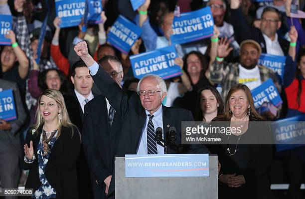 Democratic presidential candidate Bernie Sanders and his wife Jane O'Meara greets supporters after winning the New Hampshire Democratic Primary...