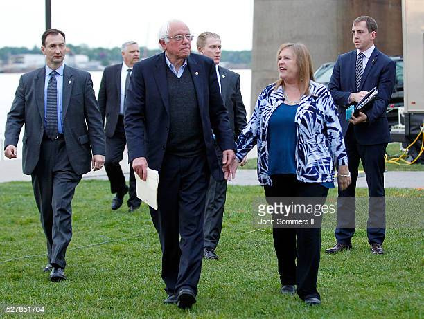 Democratic presidential candidate Bernie Sanders arrives with his wife Jane O'Meara Sanders to a campaign rally at the Big Four Lawn park May 3 2016...