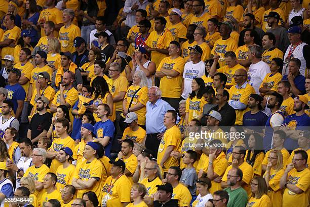 Democratic presidential candidate Bernie Sanders attends Game Seven of the Western Conference Finals between the Oklahoma City Thunder and Golden...
