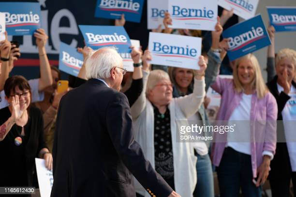 Democratic presidential candidate Bernie Sanders discusses health care costs at an ice cream social in Dover New Hampshire hosted by Ben Cohen and...