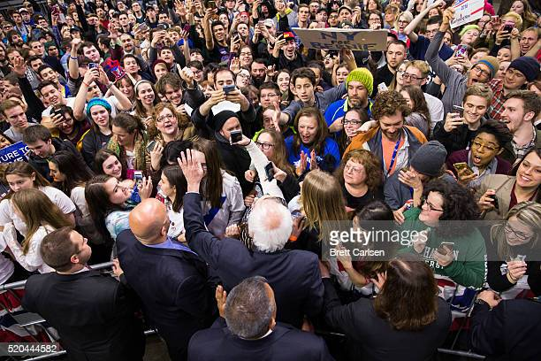Democratic presidential candidate Bernie Sanders greets supporters at the conclusion of his rally on April 11 2016 in Binghamton New York The New...