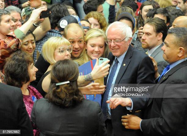 Democratic presidential candidate Bernie Sanders greets supporters after addressing a rally at Colorado State University's Molby Areana in Ft Collins...