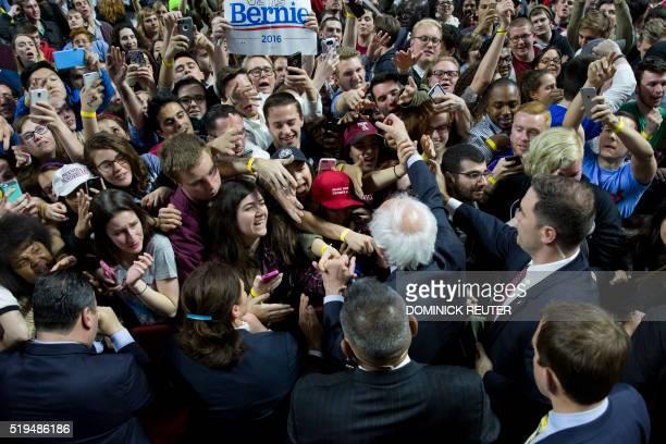 Democratic presidential candidate Bernie Sanders greets supporters after speaking at Temple University April 6 in Philadelphia Pennsylvania Sanders...
