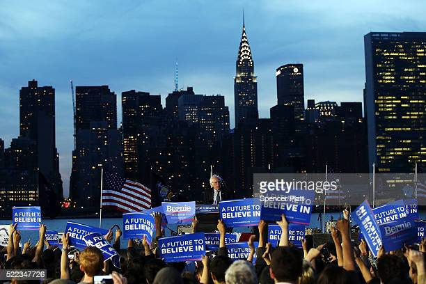 Democratic Presidential candidate Bernie Sanders speaks at a campaign rally on the eve of the New York primary, April 18, 2016 in the Queens borough...