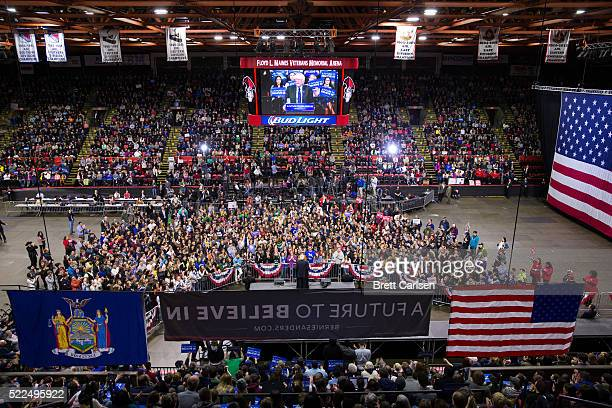 Democratic presidential candidate Bernie Sanders speaks at a rally for his campaign on April 11 2016 in Binghamton New York