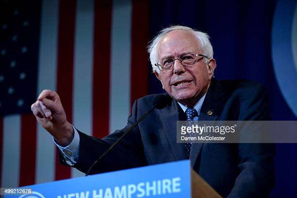 Democratic Presidential candidate Bernie Sanders speaks at the Jefferson Jackson Dinner at the Radisson Hotel November 29 2015 in Manchester New...