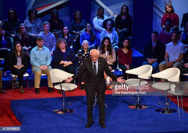 Democratic presidential candidate Bernie Sanders speaks at the CNN Town Hall on March 13 2016 in Columbus OH