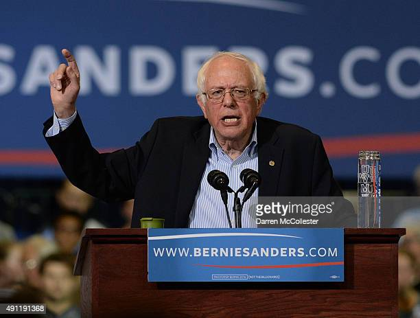 Democratic Presidential candidate Bernie Sanders speaks during a rally at the Boston Convention and Exhibition Center October 3 2015 in Boston...