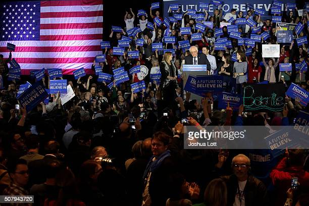 Democratic presidential candidate Bernie Sanders speaks during his Caucus night event at the at the Holiday Inn February 1 2016 in Des Moines Iowa...