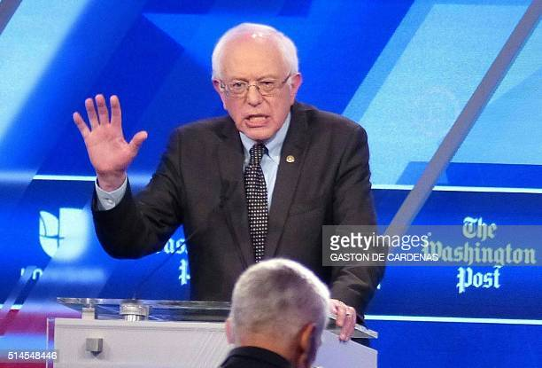 Democratic presidential candidate Bernie Sanders speaks during the democratic presidential debate with Hillary Clinton in Miami on March 9 2016 / AFP...