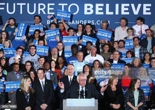 Democratic presidential candidate Bernie Sanders speaks to supporters after winning the New Hampshire Democratic Primary February 9 2016 in Concord...