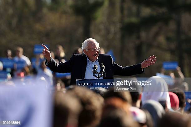 Democratic Presidential candidate Bernie Sanders speaks to throngs of supporters in Prospect Park to hear Democratic Presidential candidate Bernie...