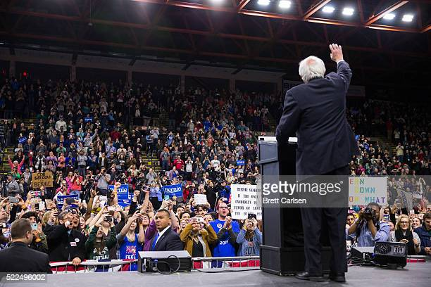 Democratic presidential candidate Bernie Sanders walks on stage before speaking at a rally on April 11, 2016 in Binghamton, New York.