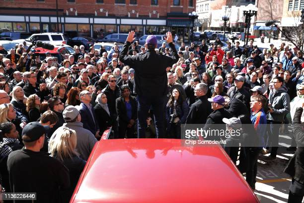 Democratic presidential candidate Beto O'Rourke addresses a canvassing kickoff event for Iowa state senate candidate Eric Giddens March 16 2019 in...