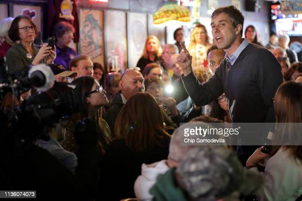 Democratic presidential candidate Beto O'Rourke an overflow audience at Yock's Landing during his second day of campaigning for the 2020 nomination...
