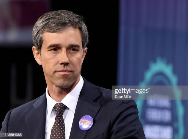 Democratic presidential candidate Beto O'Rourke is interviewed at the National Forum on Wages and Working People Creating an Economy That Works for...