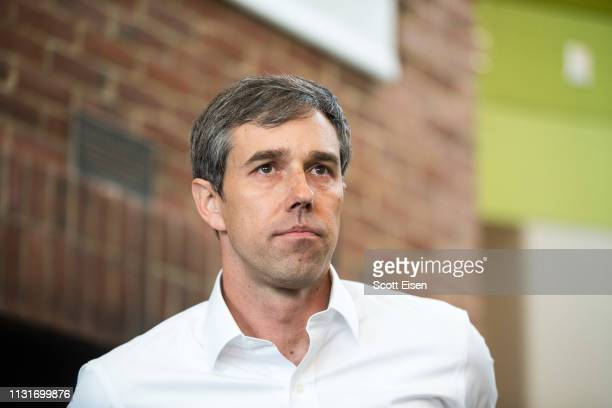 Democratic presidential candidate Beto O'Rourke looks on during a meet and greet at Plymouth State College on March 20 2019 in Plymouth New Hampshire...