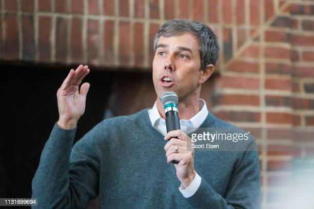 Democratic presidential candidate Beto O'Rourke speaks during a meet and greet at Plymouth State College on March 20 2019 in Plymouth New Hampshire...