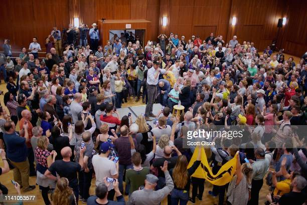 Democratic presidential candidate Beto O'Rourke speaks during a campaign rally at the University of Iowa on April 07 2019 in Iowa City Iowa The rally...