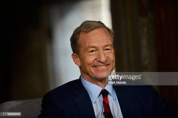 Democratic presidential candidate billionaire Tom Steyer speaks during a town hall at Eastern State Penitentiary on October 28 2019 in Philadelphia...