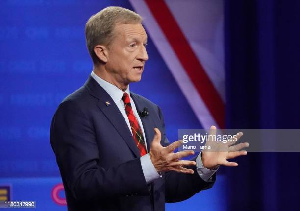 Democratic presidential candidate billionaire Tom Steyer speaks at the Human Rights Campaign Foundation and CNN's presidential town hall focused on...
