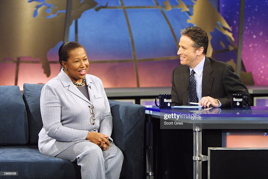 Democratic Presidential candidate Carol Moseley Braun appears with Jon Stewart during 'The Daily Show With Jon Stewart' at the Daily Show Studios January 14, 2004 in New York City.