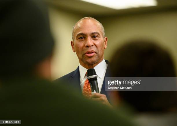 Democratic presidential candidate Deval Patrick fields questions during a meeting of the Polk County Democrats on November 18, 2019 in Des Moines,...
