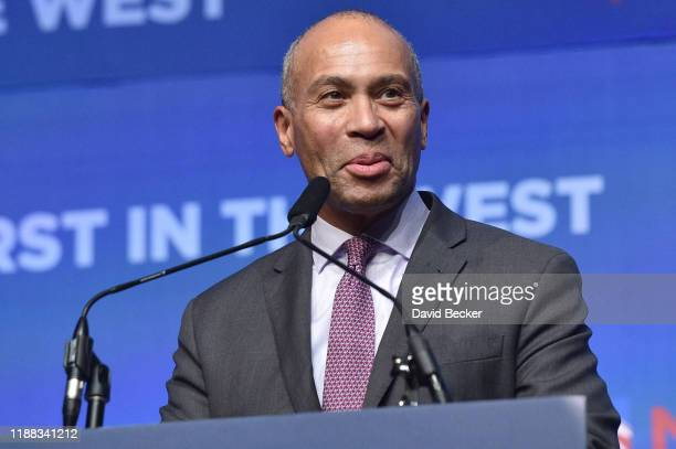 """Democratic presidential candidate Deval Patrick speaks during the Nevada Democratic's """"First in the West"""" event at Bellagio Resort & Casino on..."""