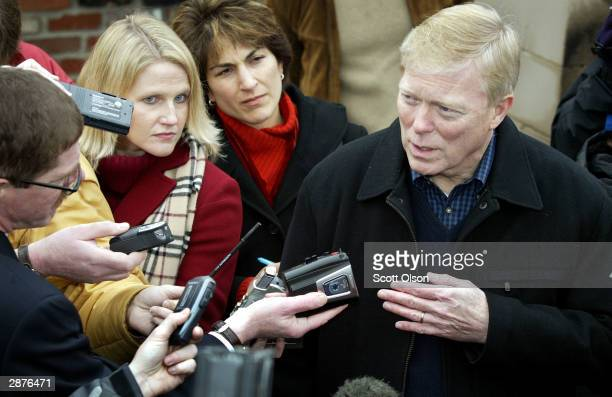 Democratic presidential candidate Dick Gephardt takes questions from reporters after campaigning at the United Auto Workers union hall January 17...