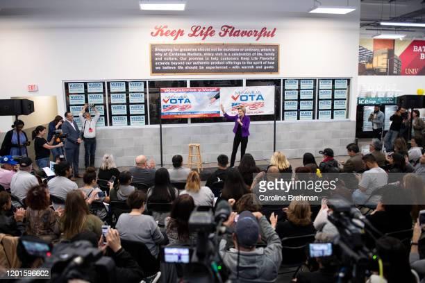 Democratic presidential candidate Elizabeth Warren, D-Mass., speaks at a Mi Familia Vota community event in Las Vegas on Monday, Feb. 17, 2020.