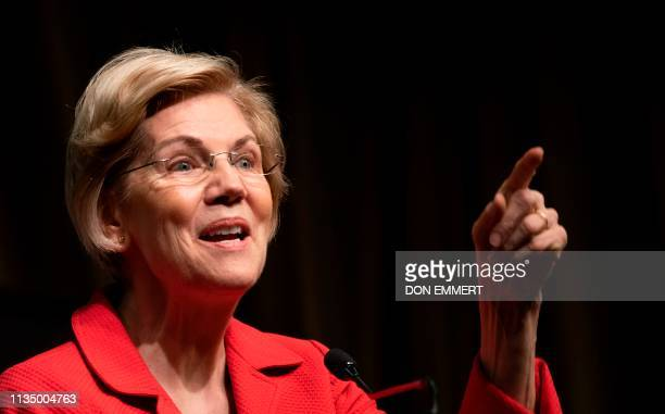Democratic Presidential candidate Elizabeth Warren speaks during a gathering of the National Action Network April 5, 2019 in New York.