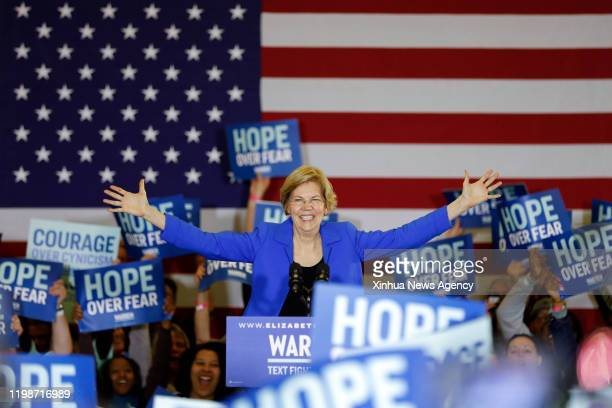 Democratic presidential candidate Elizabeth Warren, the Massachusetts senator, speaks at a rally in Des Moines, Iowa, the United States, FEBRUARY 3,...