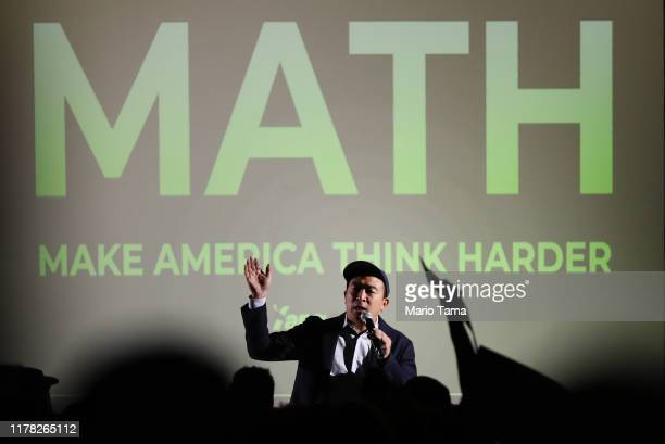 Democratic presidential candidate, entrepreneur Andrew Yang speaks at a campaign rally on September 30, 2019 in Los Angeles, California. Yang is the...