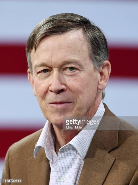 Democratic presidential candidate former Colorado Gov John Hickenlooper is interviewed at the National Forum on Wages and Working People Creating an...