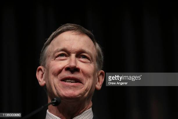 Democratic presidential candidate former Colorado Gov John Hickenlooper speaks at the National Action Network's annual convention April 5 2019 in New...