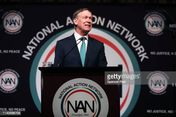 Democratic presidential candidate former Colorado Gov John Hickenlooper speaks at the National Action Network's annual convention on April 5 2019 in...