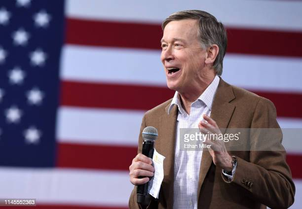 Democratic presidential candidate former Colorado Gov John Hickenlooper speaks at the National Forum on Wages and Working People Creating an Economy...