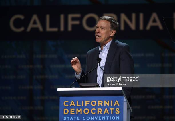 Democratic presidential candidate former Colorado Gov John Hickenlooper speaks during the California Democrats 2019 State Convention at the Moscone...