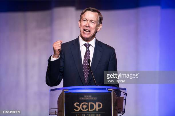 Democratic presidential candidate former Colorado Governor John Hickenlooper speaks to the crowd during the 2019 South Carolina Democratic Party...