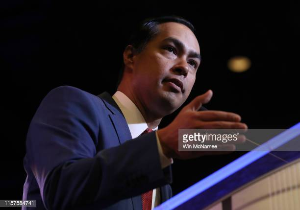 Democratic presidential candidate former HUD Secretary Julian Castro speaks at the South Carolina Democratic Party State Convention on June 22 2019...