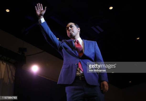 Democratic presidential candidate former HUD Secretary Julian Castro concludes his remarks at the South Carolina Democratic Party State Convention on...