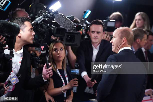 Democratic presidential candidate former Maryland congressman John Delaney speaks to the media in the spin room after the Democratic Presidential...