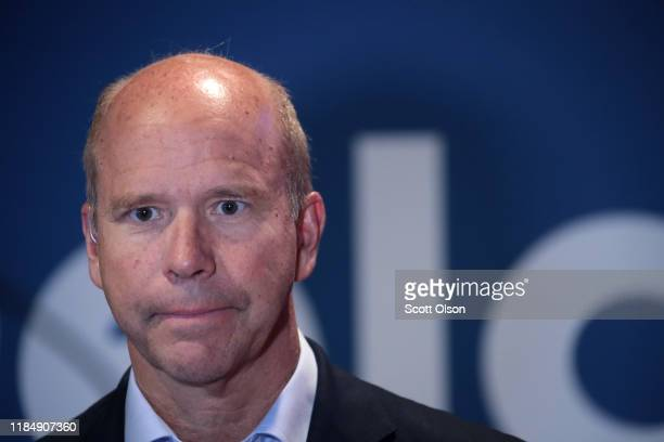 Democratic presidential candidate former Maryland congressman John Delaney waits for the start of a live television interview before the Liberty and...
