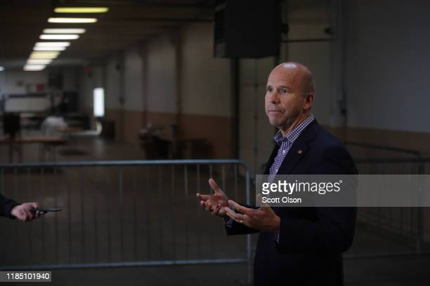 Democratic presidential candidate former Maryland congressman John Delaney speaks to the press during the Finkenauer Fish Fry at the Hawkeye Downs...