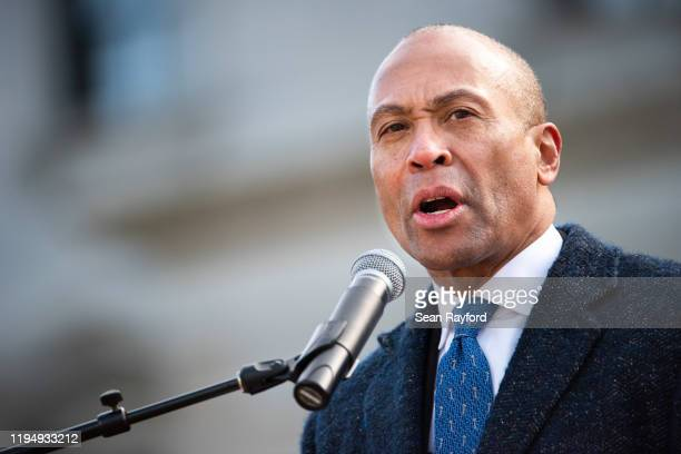 Democratic presidential candidate former Massachusetts Governor Deval Patrick addresses the crowd during the King Day at the Dome rally on January...