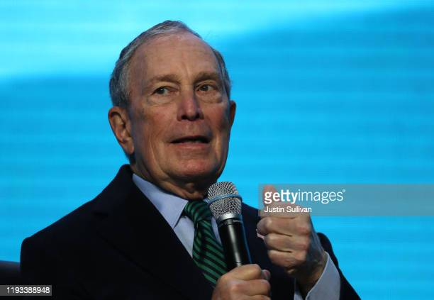Democratic presidential candidate former New York City mayor Michael Bloomberg speaks during a discussion about climate change with former California...